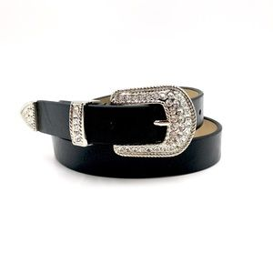 Accessories - Black Belt with Silver Jeweled Buckle